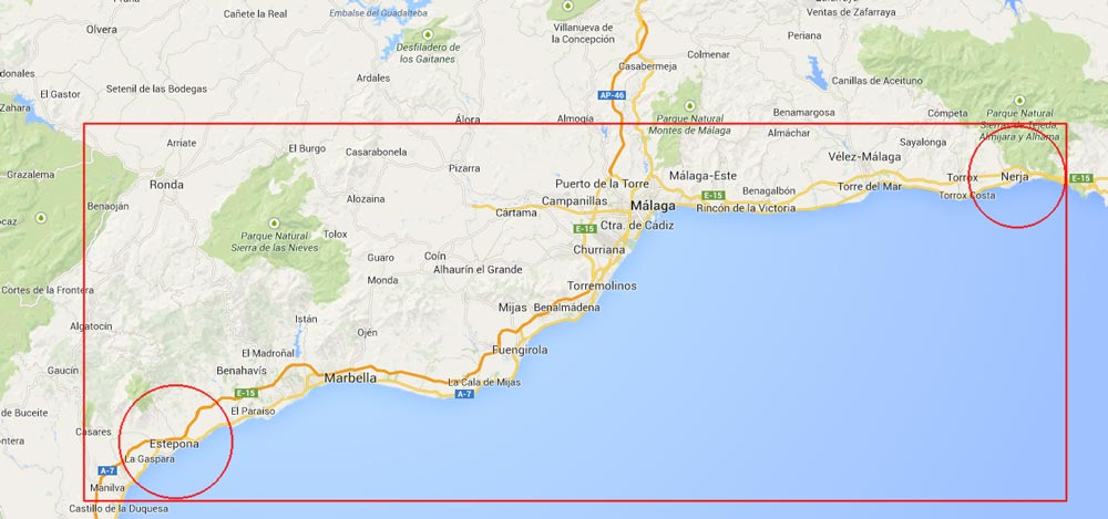 We cover all the Costa del Sol from Estepona to Nerja